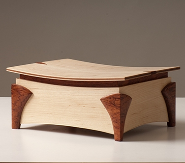 jointworks studio - ruby coast arts-maple and bubinga jewellery box